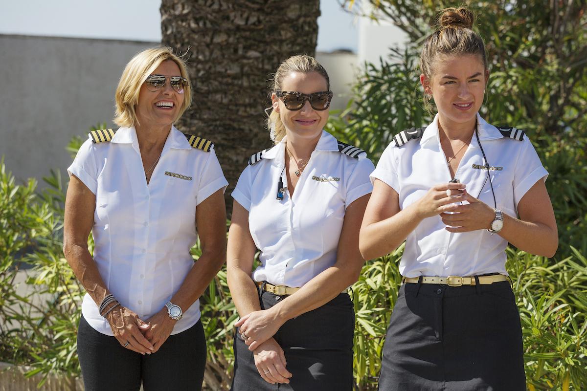 Below Deck Mediterranean's Captain Sandy Yawn, Hannah Ferrier, and Aesha Scott prepare to meet charter guest requests