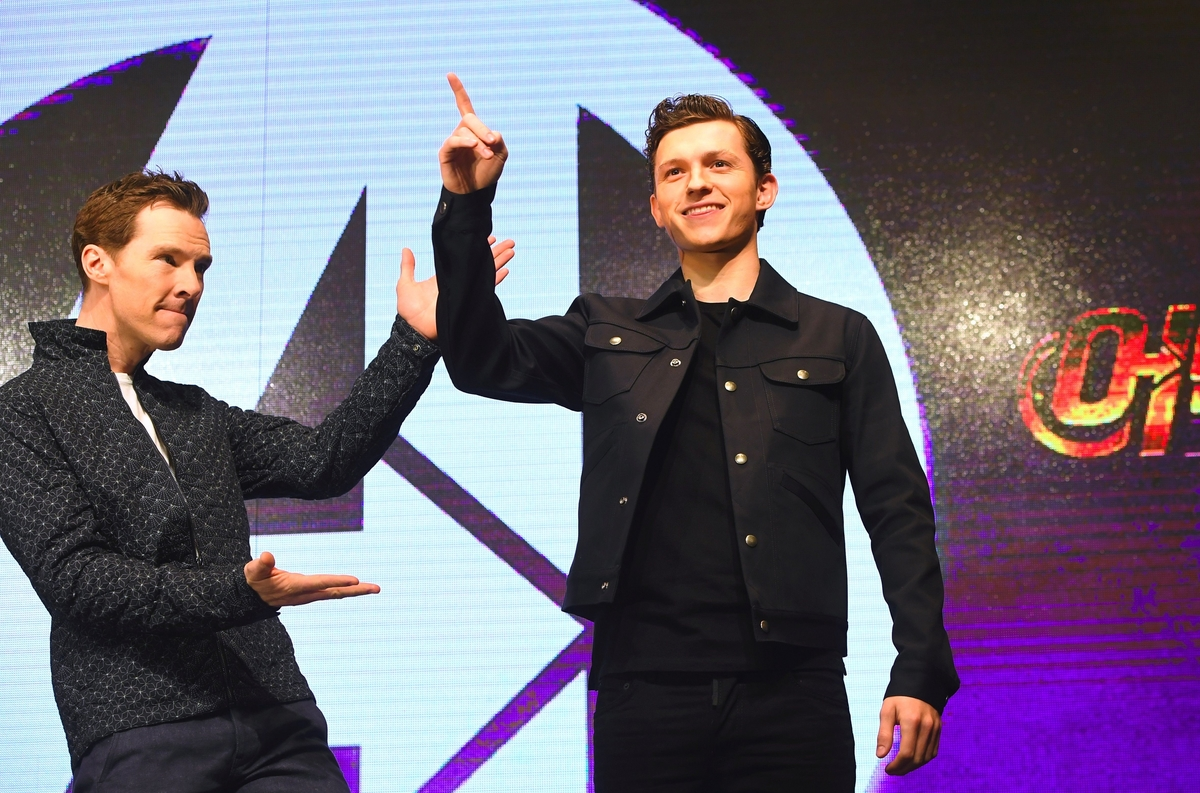 Benedict Cumberbatch and Tom Holland at 'Avengers: Infinity War' press conference