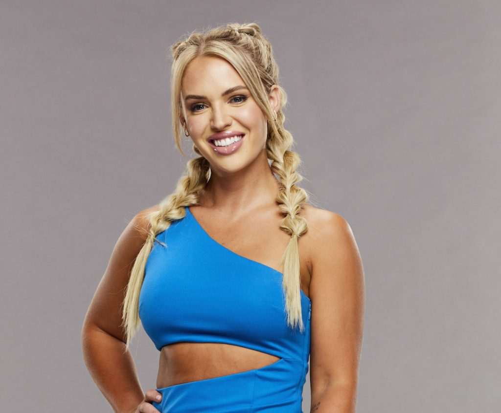 Whitney Williams of 'Big Brother 23' poses in a blue dress.