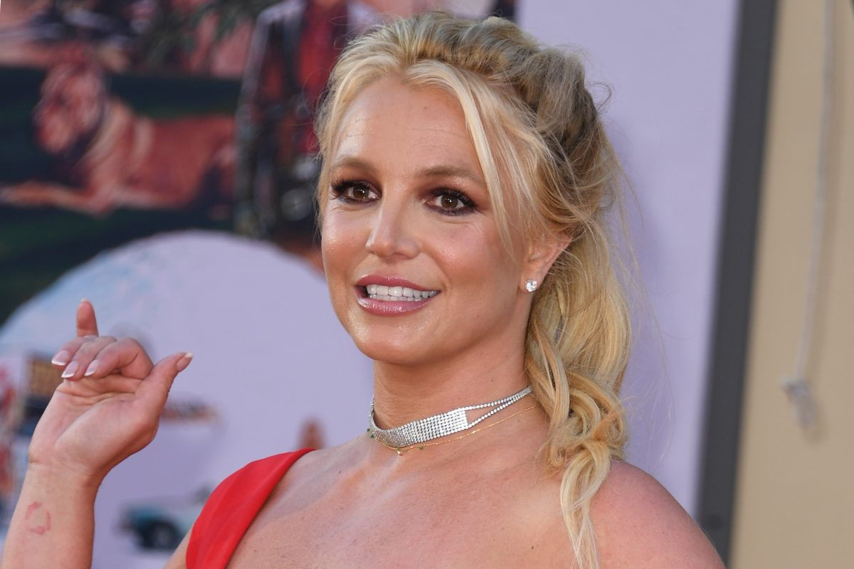 Britney Spears, in a red dress, at the premiere of the movie 'One Upon a Time in Hollywood' in 2019.