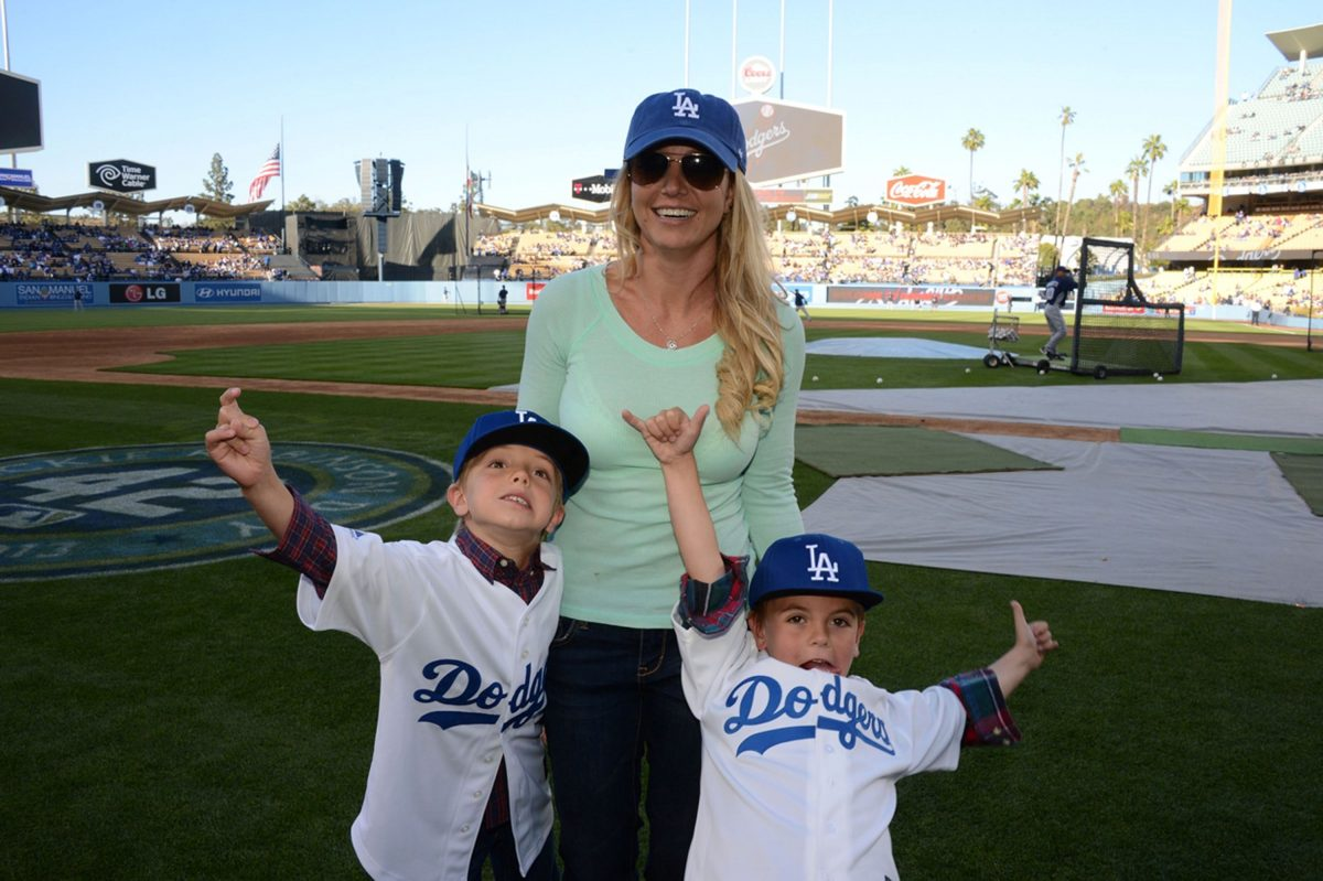 Britney Spears and sons at baseball game.