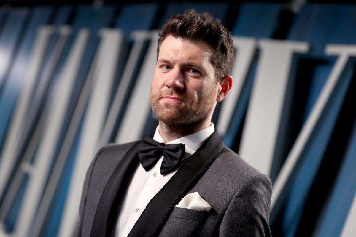 'Bros' actor and co-writer Billy Eichner at the 2020 Vanity Fair Oscar Party wearing a gray and black tuxedo