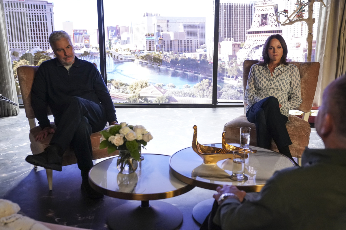 William Petersen as Gil Grissom and Jorja Fox as Sara Sidle in a shot from 'CSI: Vegas'