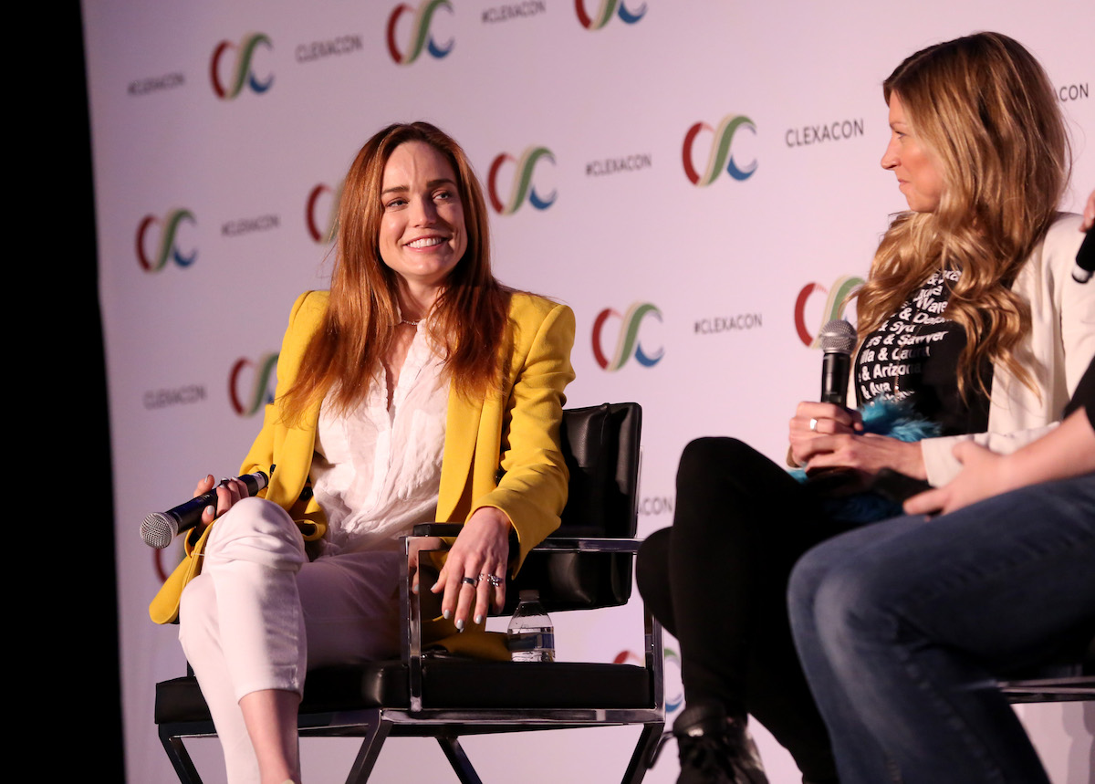 Caity Lotz and Jes Macallan on stage