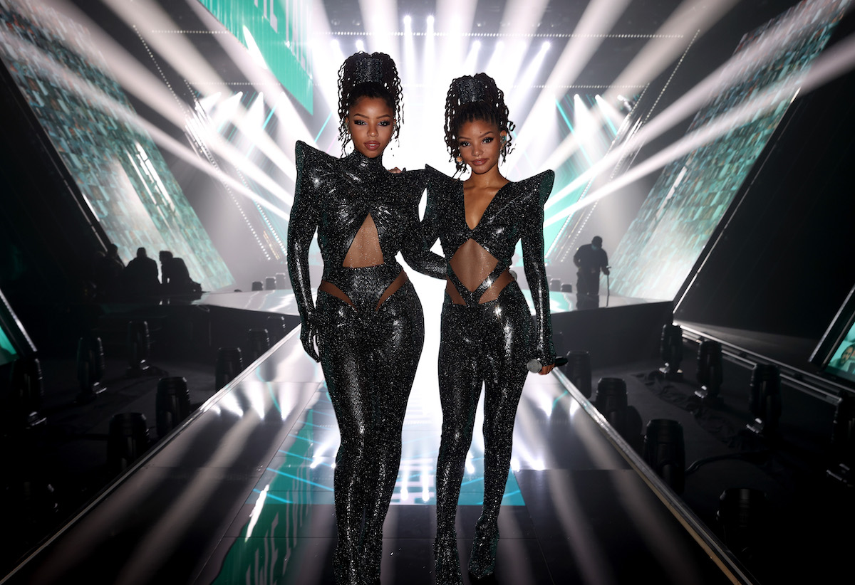 Chlöe Bailey and Halle Bailey of Chlöe X Halle wear all black outfits set to perform onstage for the 2020 E! People's Choice Awards held at the Barker Hangar in Santa Monica, California on Sunday, November 15, 2020.