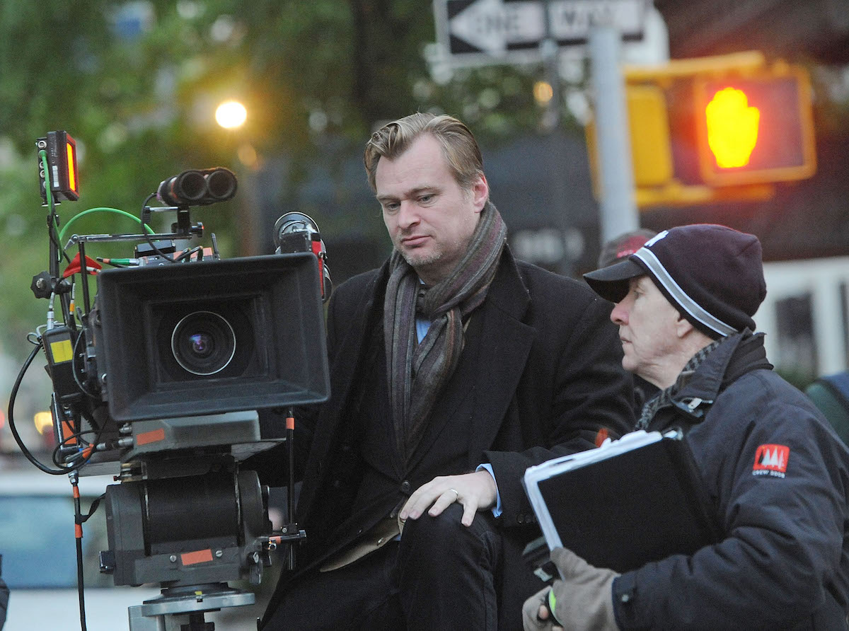 Christopher Nolan on set with a camera