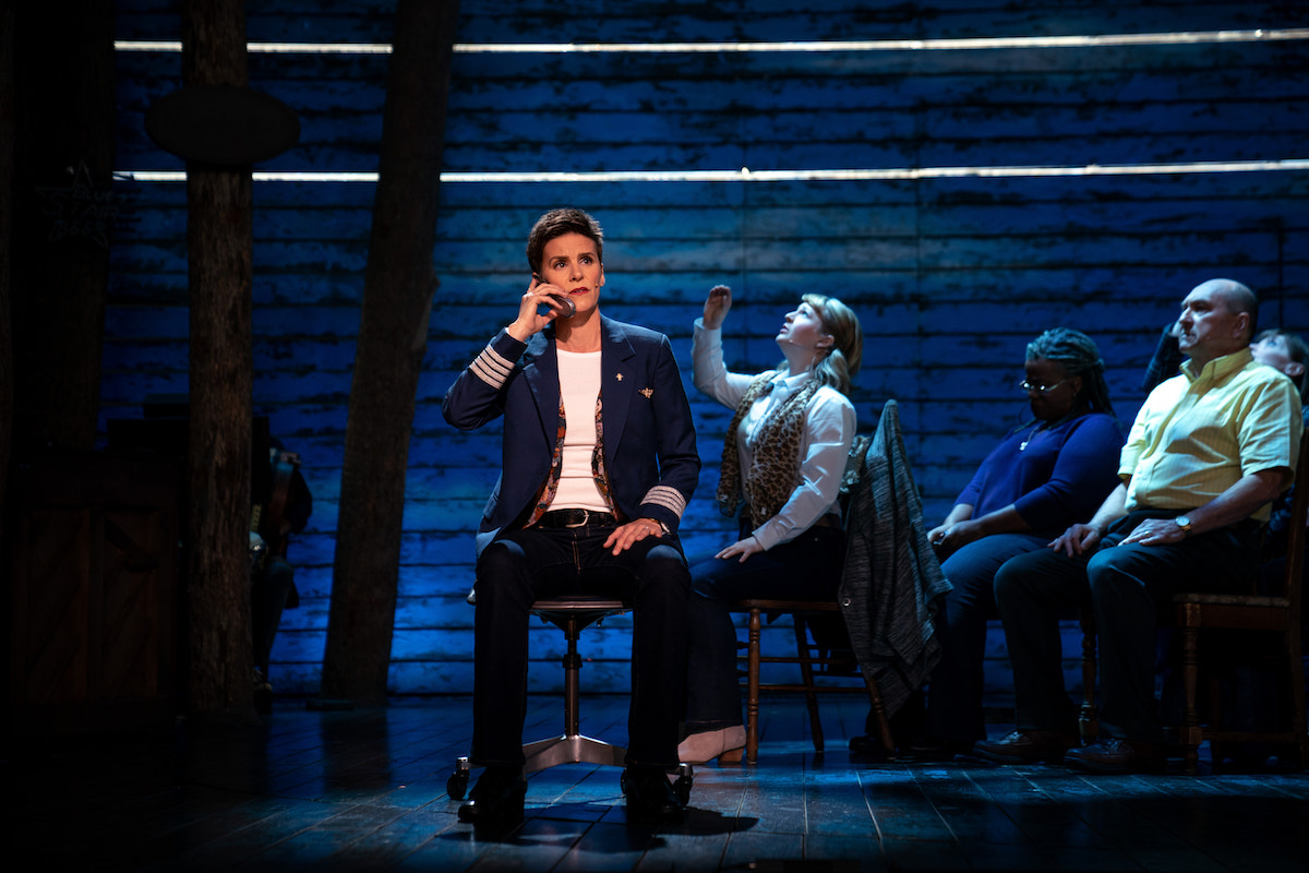 The 'Come From Away' film ensemble in the production filmed for Apple TV+. The Broadway musical tells the true story of how the Canadian town of Gander rushed to the aid of 7,000 people who found themselves stranded in their town after their planes had to land there when the American airspace was closed on Sept. 11, 2001.