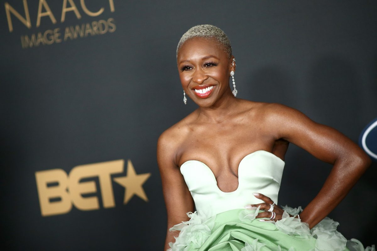 Cynthia Erivo, in a white and green gown, at the NAACP Image Awards in 2020.
