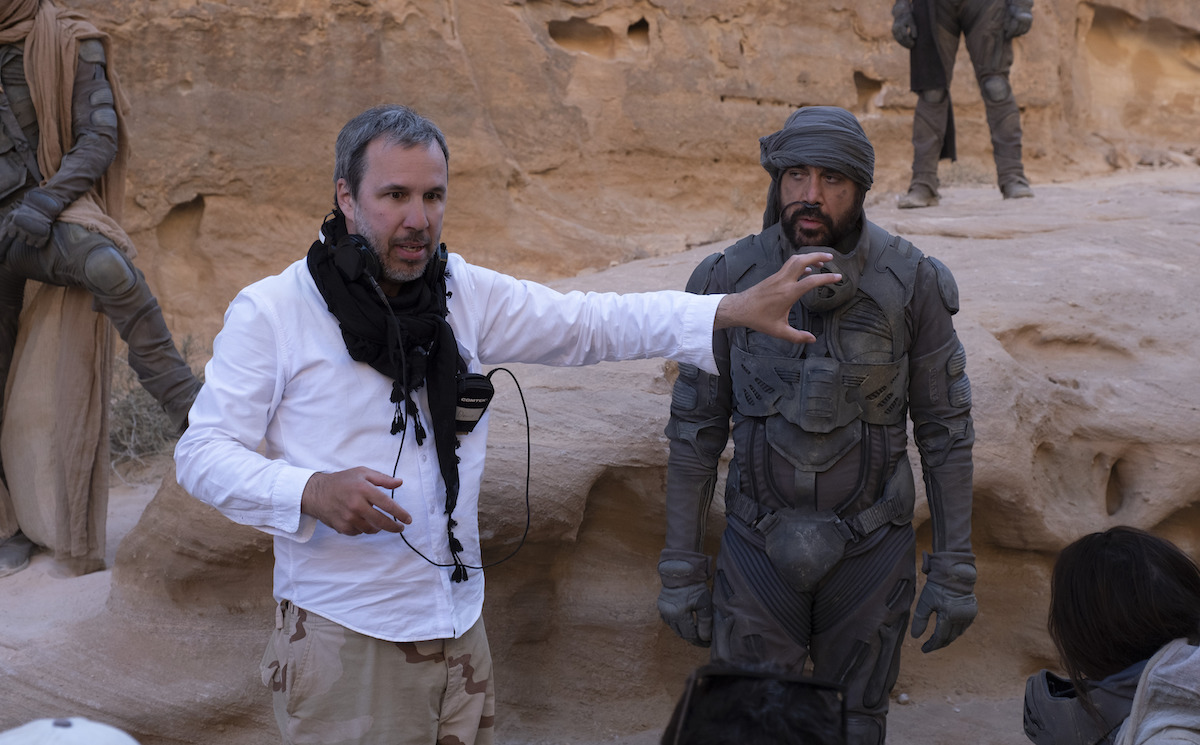 Denis Villeneuve and Javier Bardem on a movie set