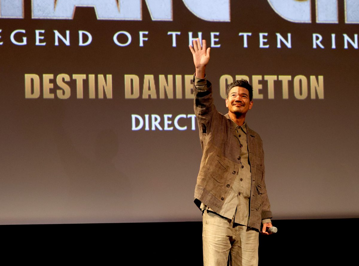 Destin Daniel Cretton, director of 'Shang-Chi and the Legend of the Ten Rings,' speaks onstage at a special screening of the film.
