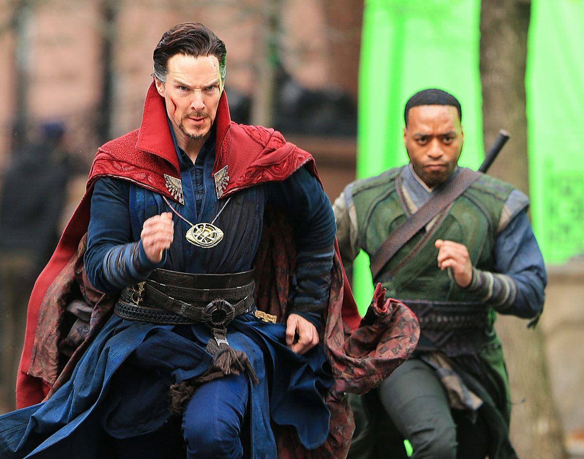 'What If...?' Star Benedict Cumberbatch and Chiwetel Ejiofor dressed in their characters' costumes on the set of 'Doctor Strange.'