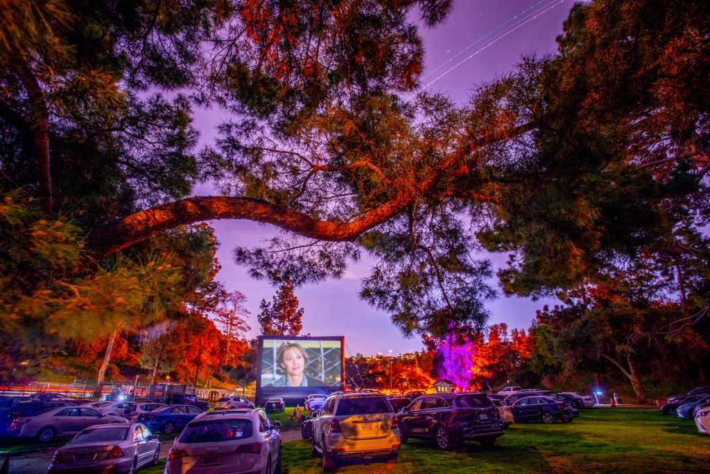 Photo of a drive-in movie theater surrounded by trees