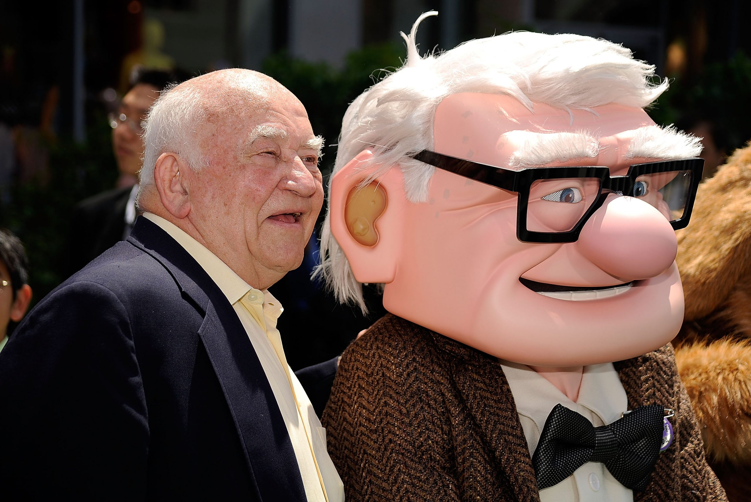 The late actor Ed Asner with his 'Up' character, Carl Fredricksen