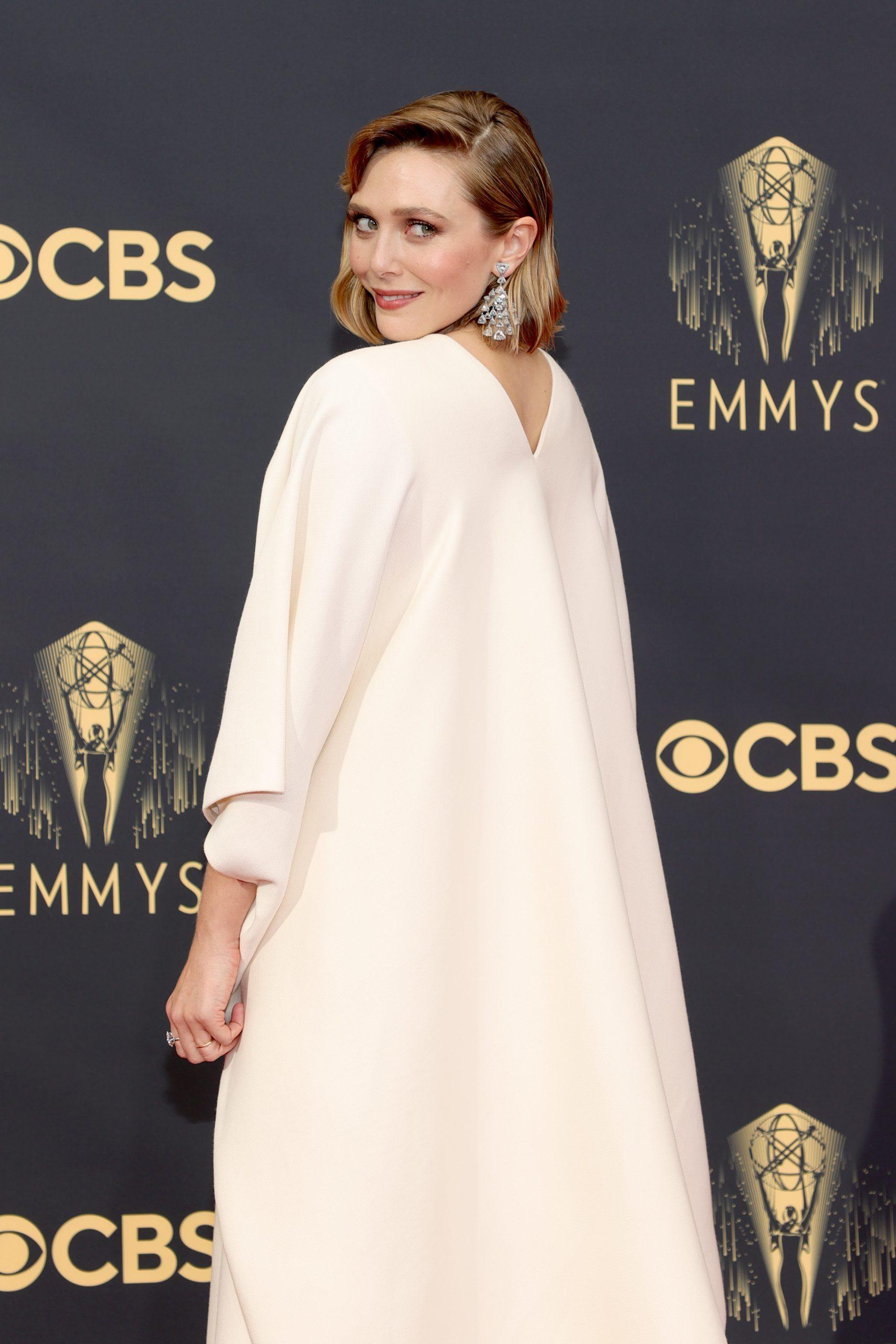 Emmy-nominated actor Elizabeth Olsen wearing The Row, Mary-Kate and Ashley Olsen's clothing line.