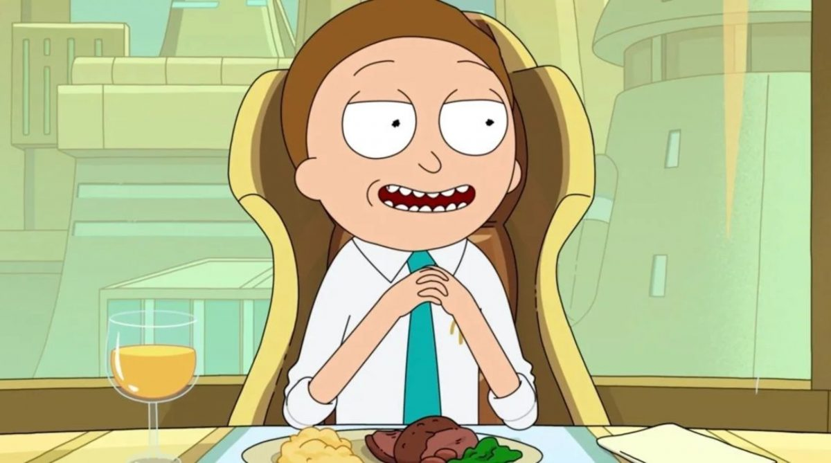 Evil Morty 'Rick and Morty' Season 5 wearing white dress shirt and tie