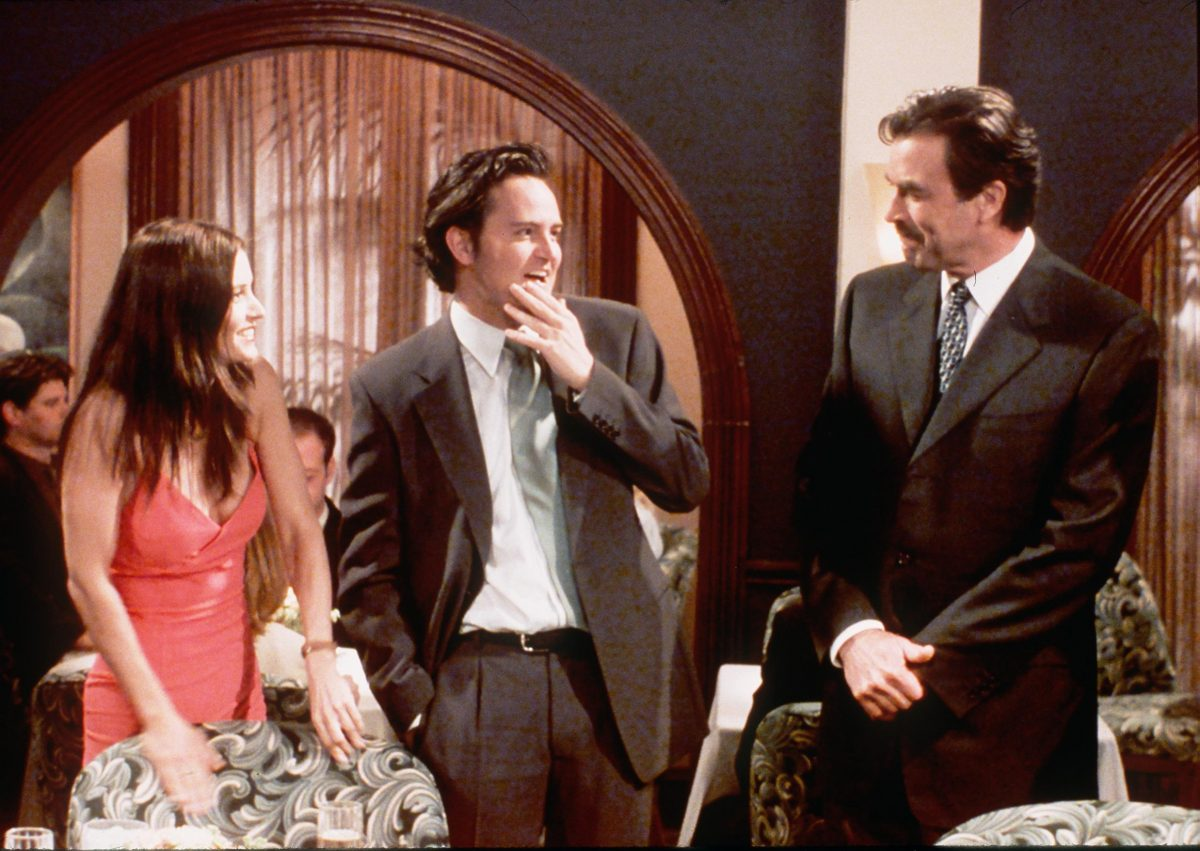 """Monica and Chandler chat with Dr. Richard Burke in """"The One With the Proposal"""" episode of 'Friends'"""