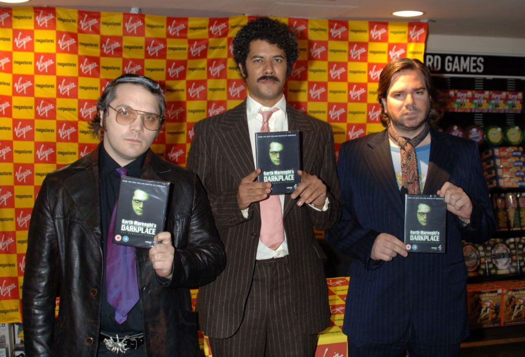 The cast of 'Garth Marenghi's Dark Place' signing DVD copies in London