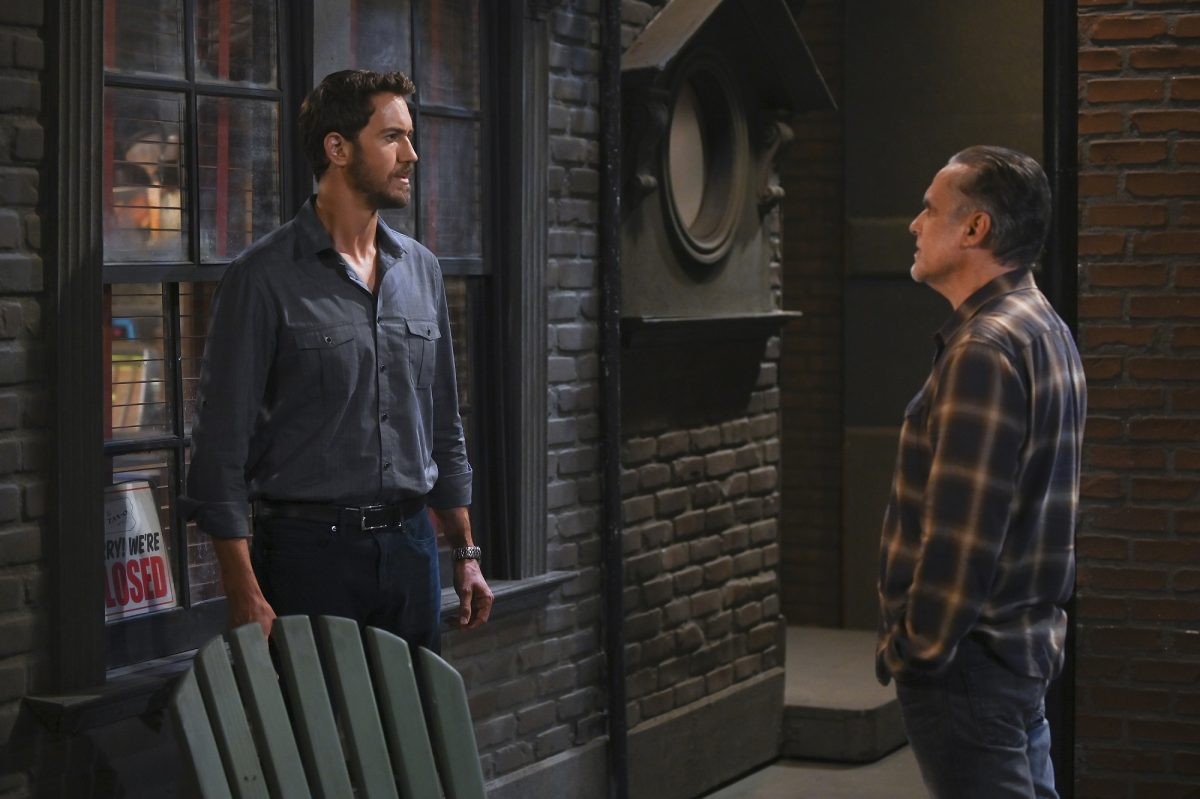 General Hospital speculation focuses on Peter, pictured here in a bar wearing a blue buttoned-down shirt