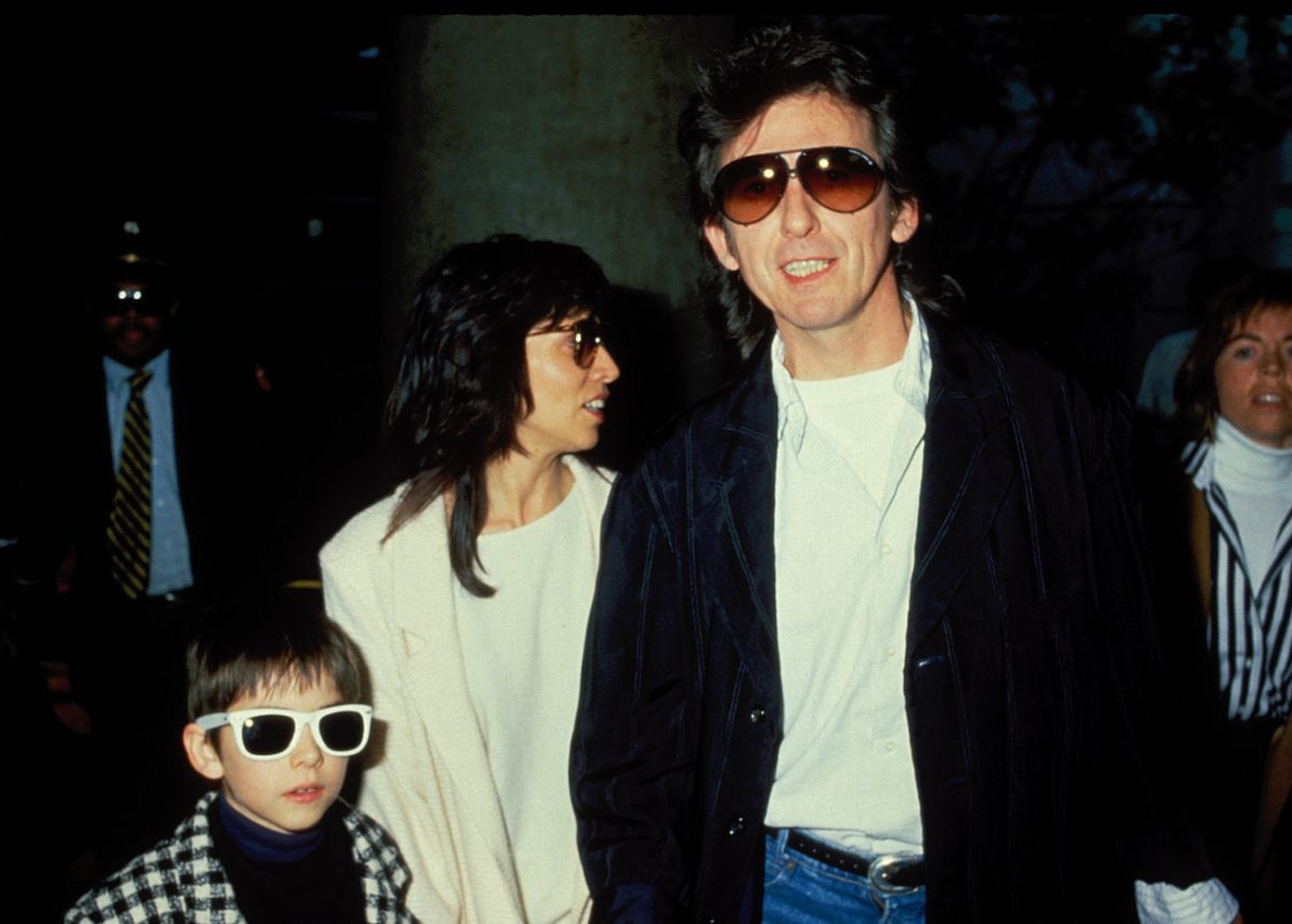 Dhani, Olivia, and George Harrison out on a night out in 1998.