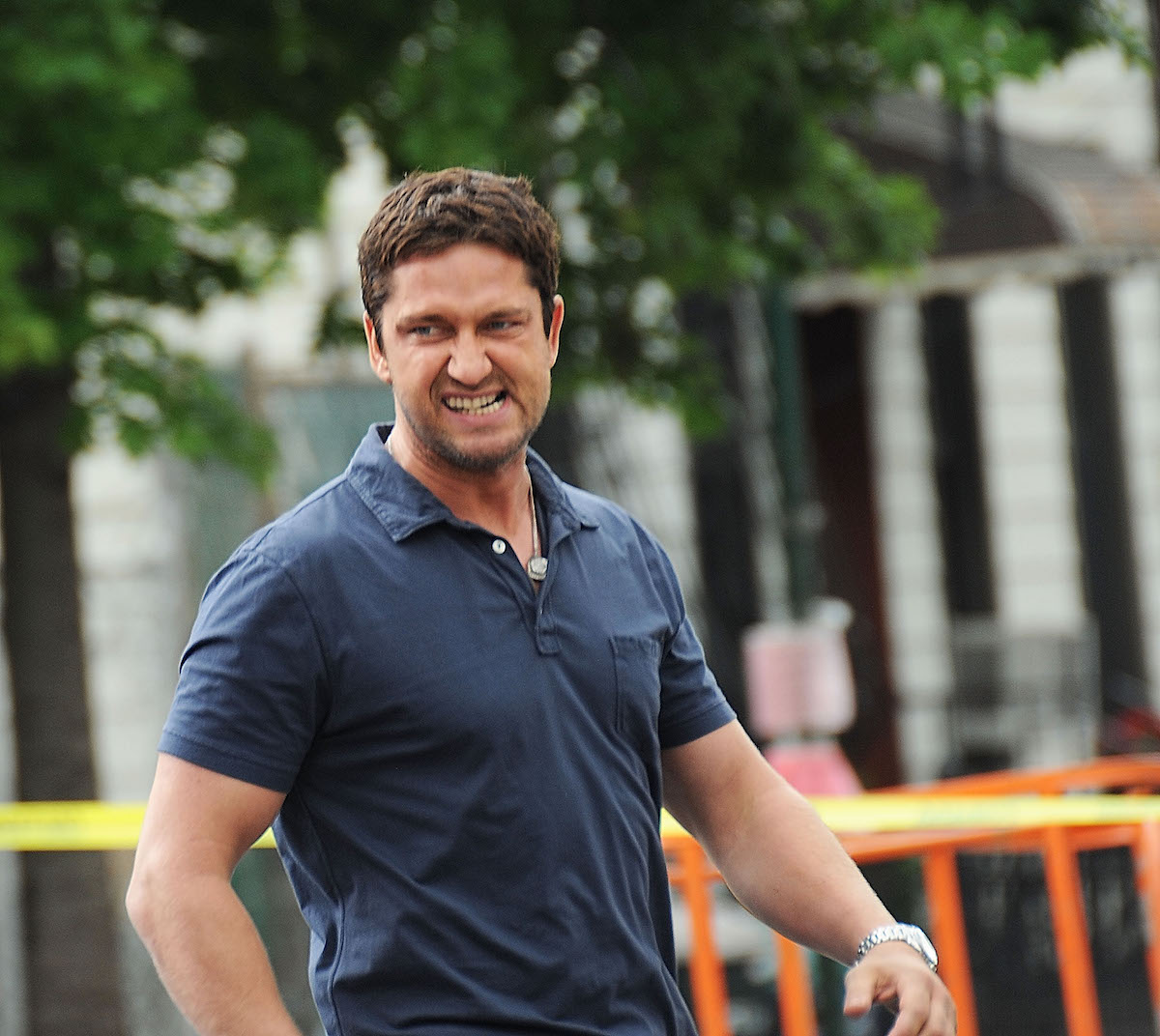 Gerard Butler on the set of a movie
