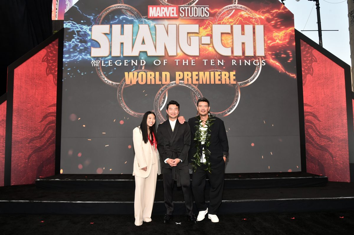 Awkwafina, Simu Liu and Destin Daniel Cretton attend the world premiere of 'Shang-Chi and the Legend of the Ten Rings.'