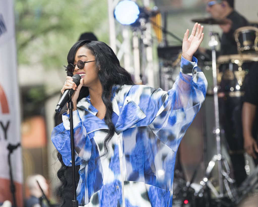 H.E.R. performs on the 'Today Show' at Rockefeller Plaza on June 25, 2021 in New York City.