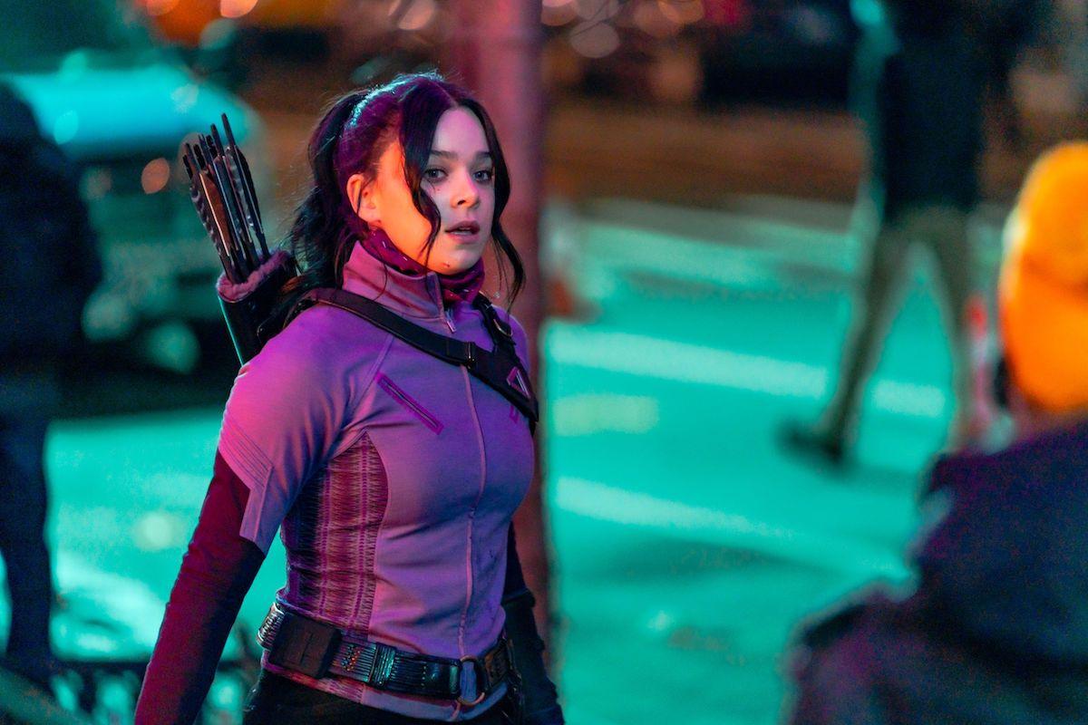Hailee Steinfeld as Kate Bishop on the set of 'Hawkeye'