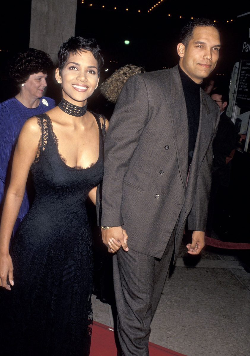 """Halle Berry and ex-husband David Justice attending the """"Sunset Blvd."""" preview performance in 1993"""