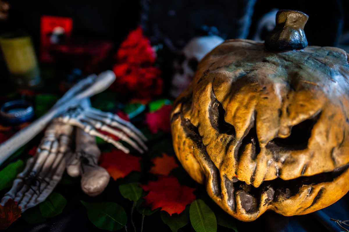Pumpkin and bones on a table