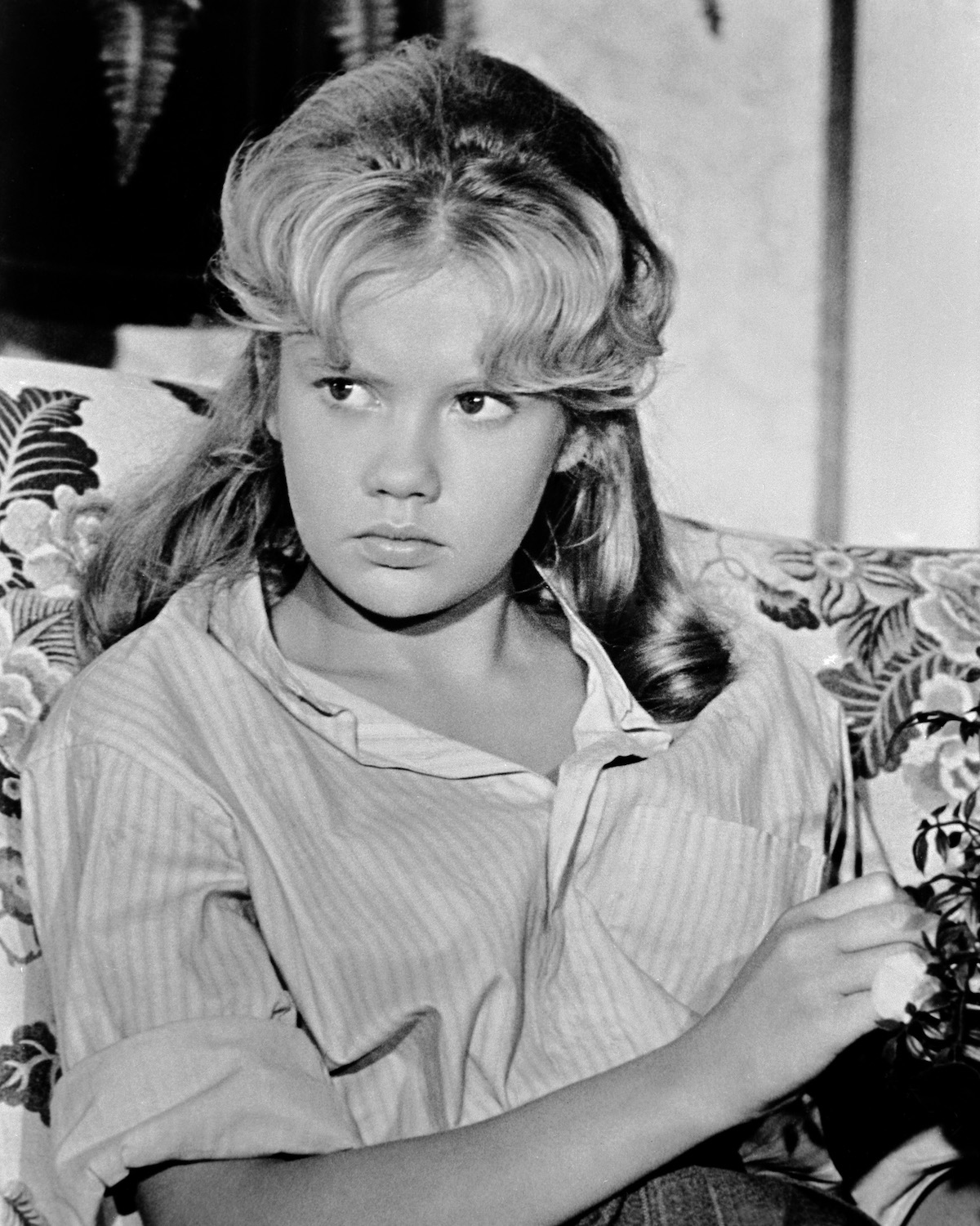 Hayley Mills in a black and white promotional shot.