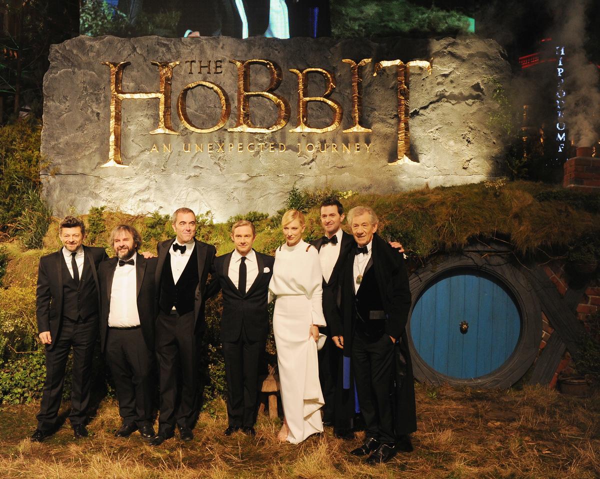 Andy Serkis, Peter Jackson, James Nesbitt, Martin Freeman, Cate Blanchett, Richard Armitage and Sir Ian Mckellen at 'The Hobbit' Royal Film Performance