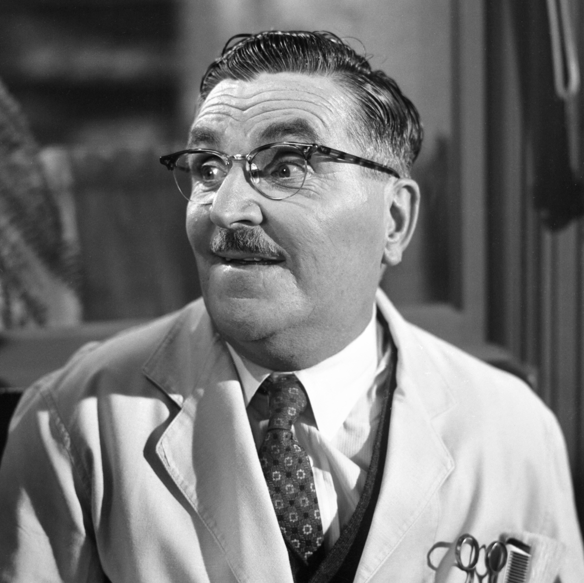 Actor Howard McNear as Floyd the Barber on 'The Andy Griffith Show'