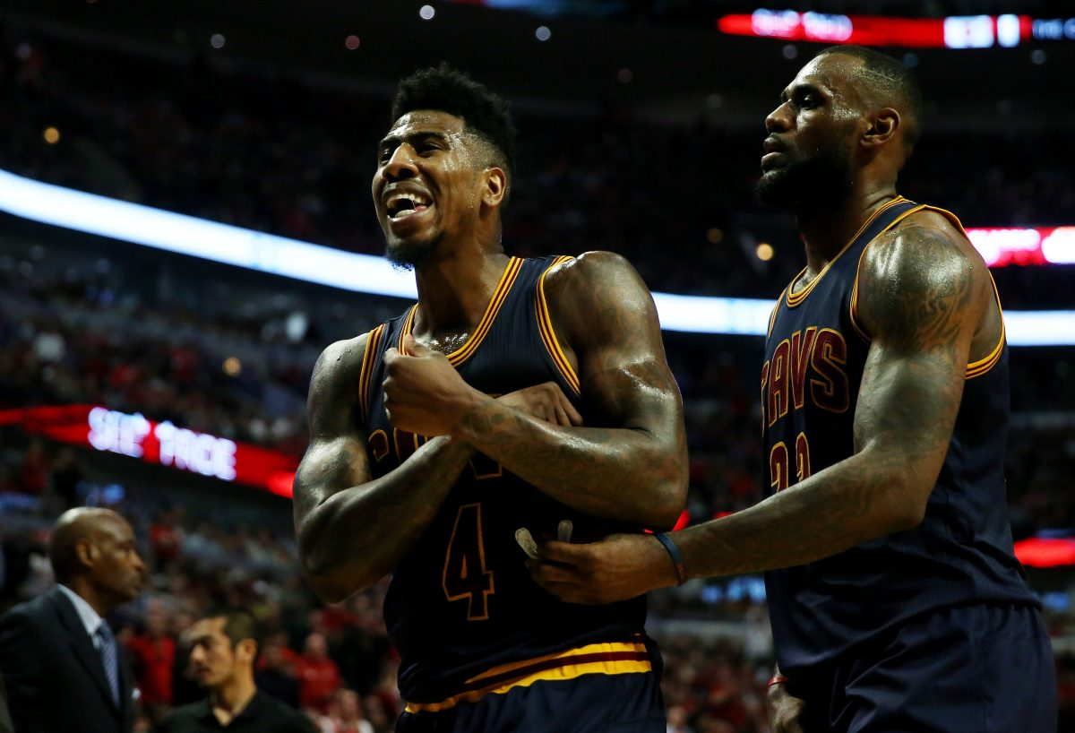 Iman Shumpert and LeBron James reacting in the second quarter against the Chicago Bulls during Game 6 of the Eastern Conference Semifinals