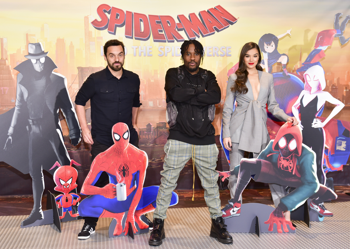 Jake Johnson, Shameik Moore, and Hailee Steinfeld at photo call for 'Spider-Man: Into the Spider-Verse'