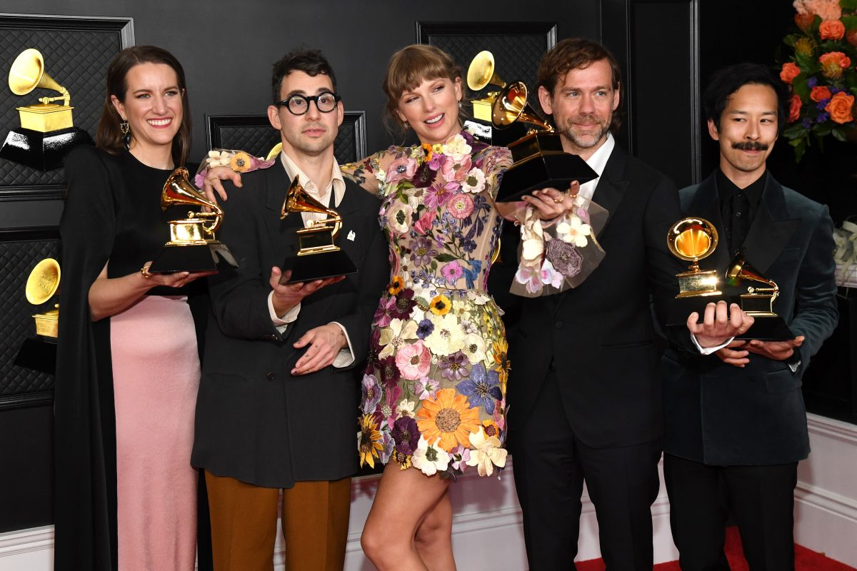 Laura Sisk, Jack Antonoff, Taylor Swift, Aaron Dessner and Jonathan Low, album of the year winners for