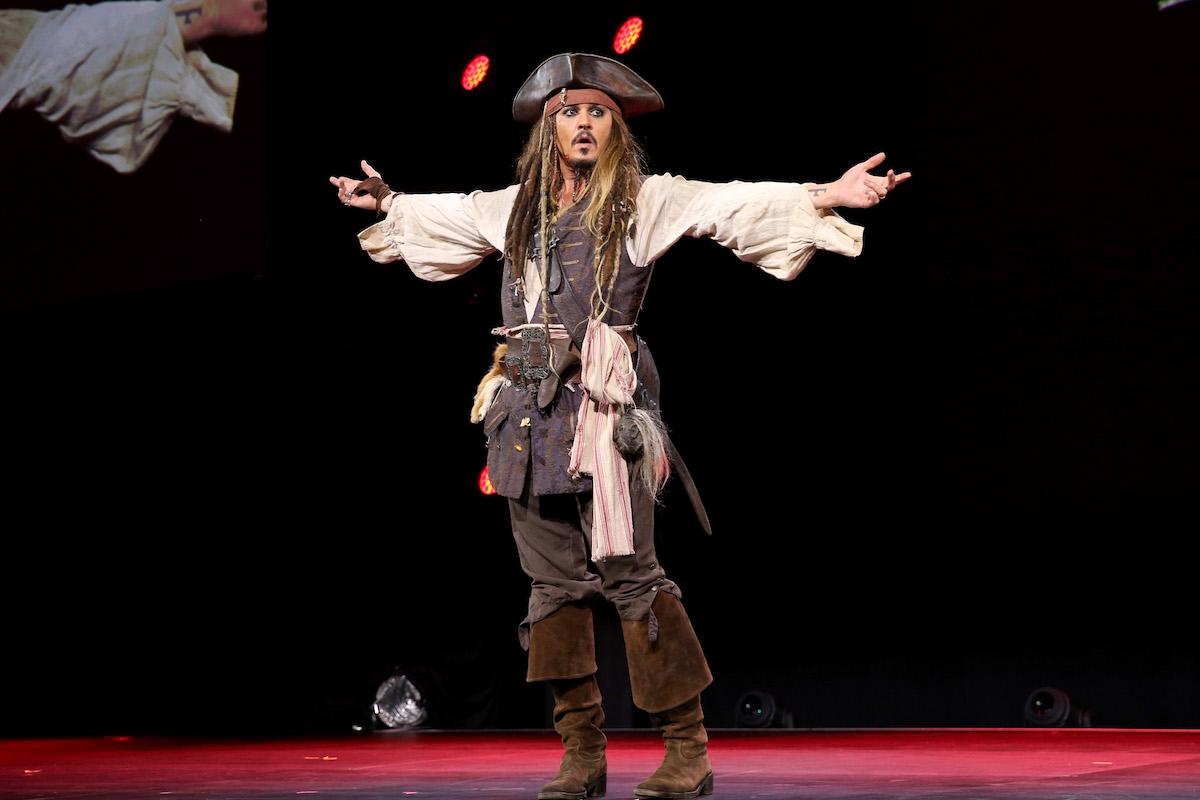 Johnny Depp as Jack Sparrow on a stage
