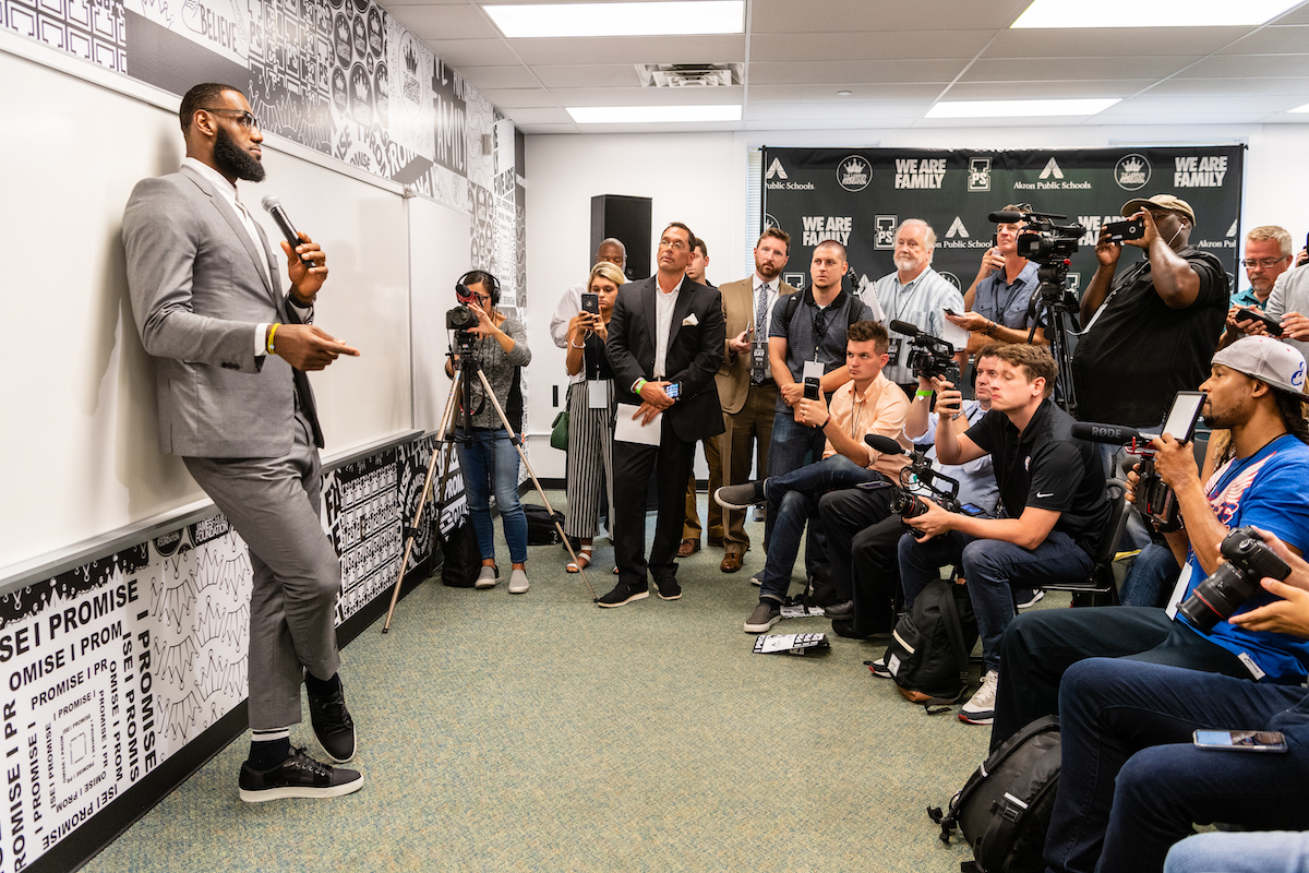 LeBron James in a classroom at his I Promise School