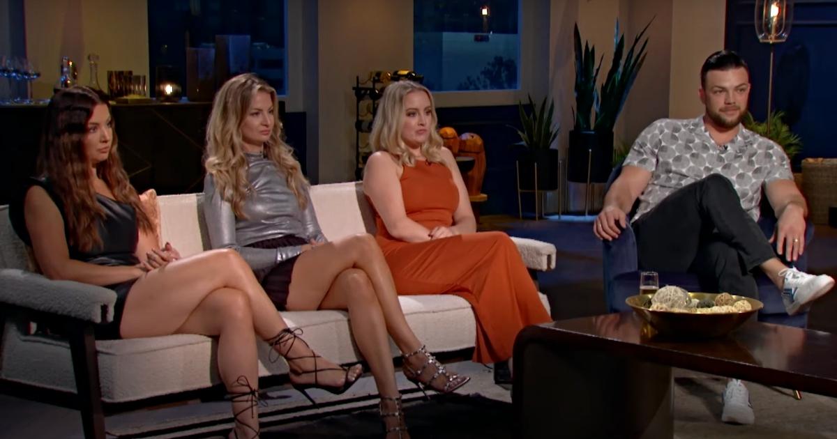 Jenn, Becky, Elizabeth Potthast sitting together on a couch alongside Andrei Castravet on '90 Day: Bares All'
