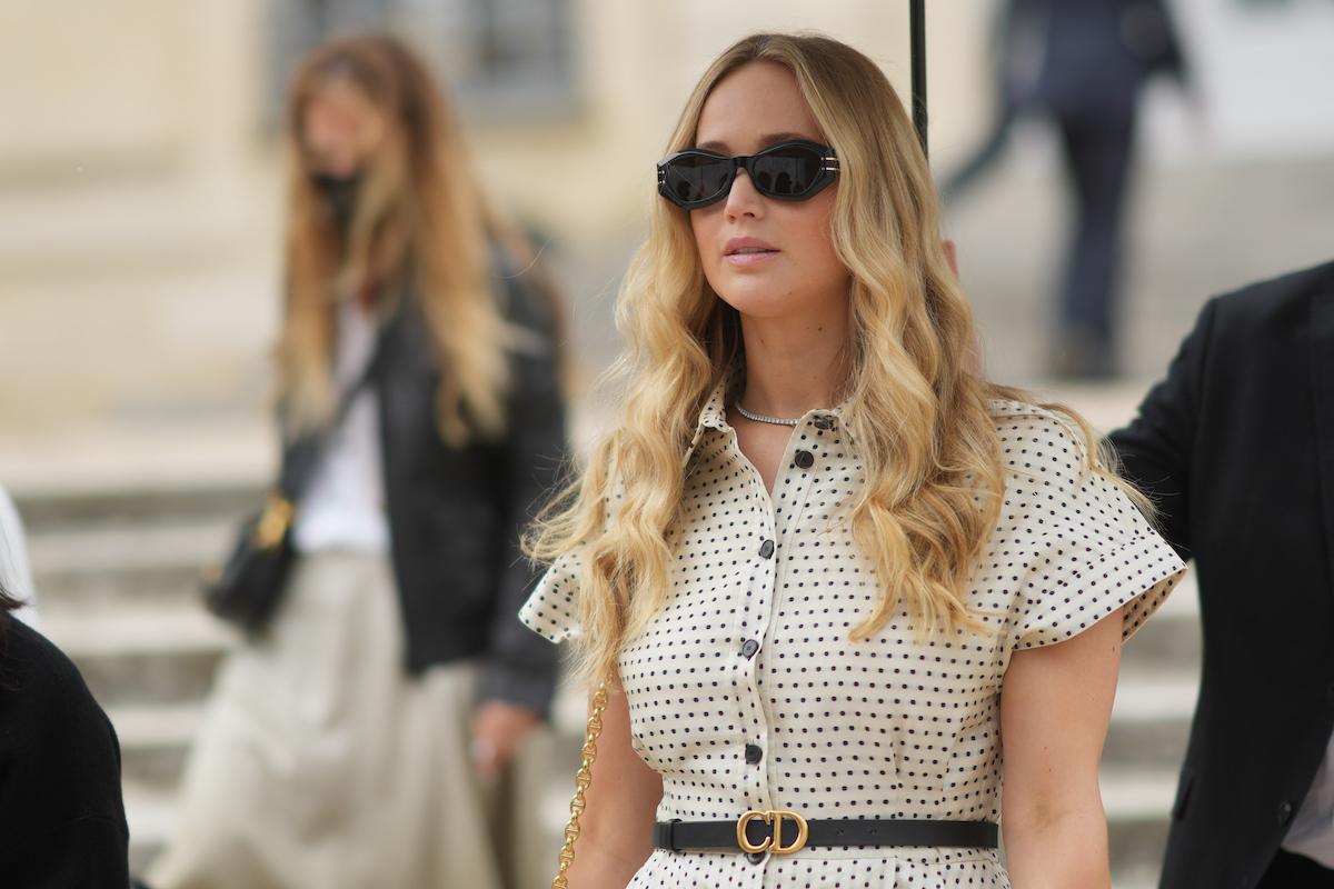 Oscar winner Jennifer Lawrence wears a black and white dress in Paris