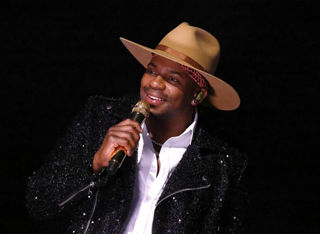 Country singer Jimmie Allen performing at the July 2021 concert A Capitol Fourth.