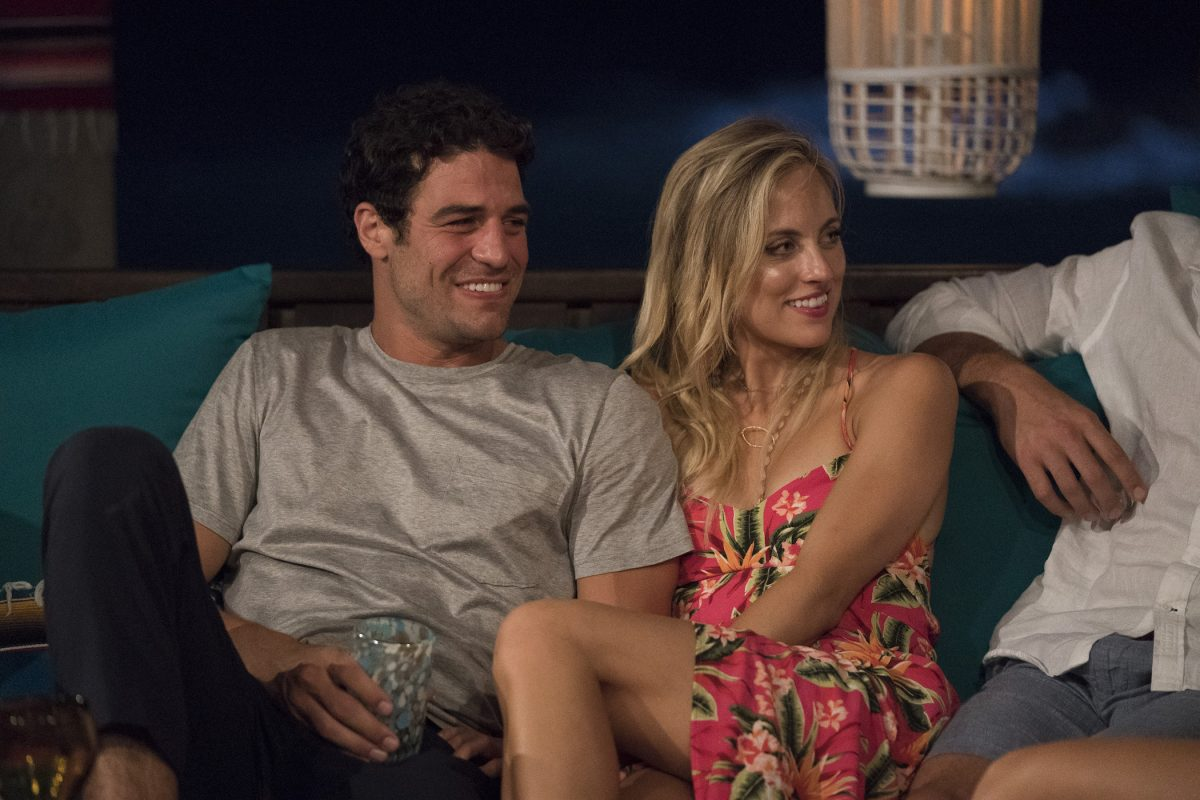 'Bachelor in Paradise' stars Joe Amabile and Kendall Long sitting next to each other and smiling