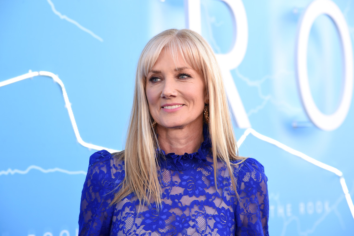 Joely Richardson of the 'Lady Chatterley's Lover' movie in a blue dress.