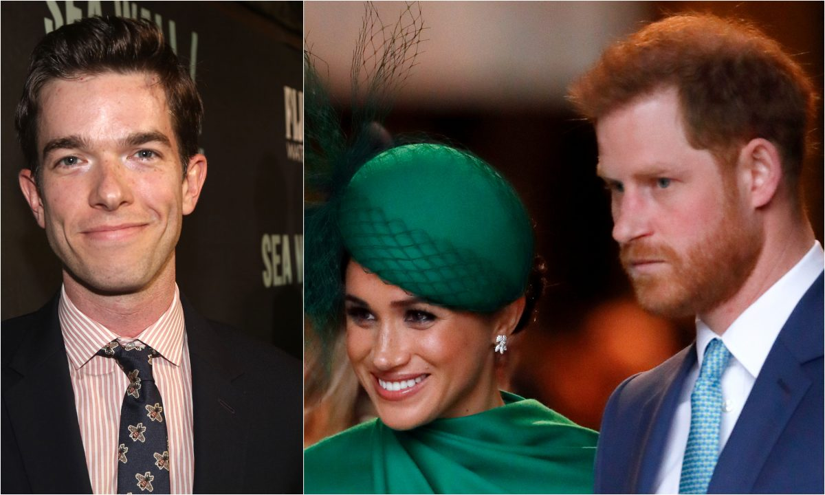 A joined photo of John Mulaney, Meghan Markle, and Prince Harry