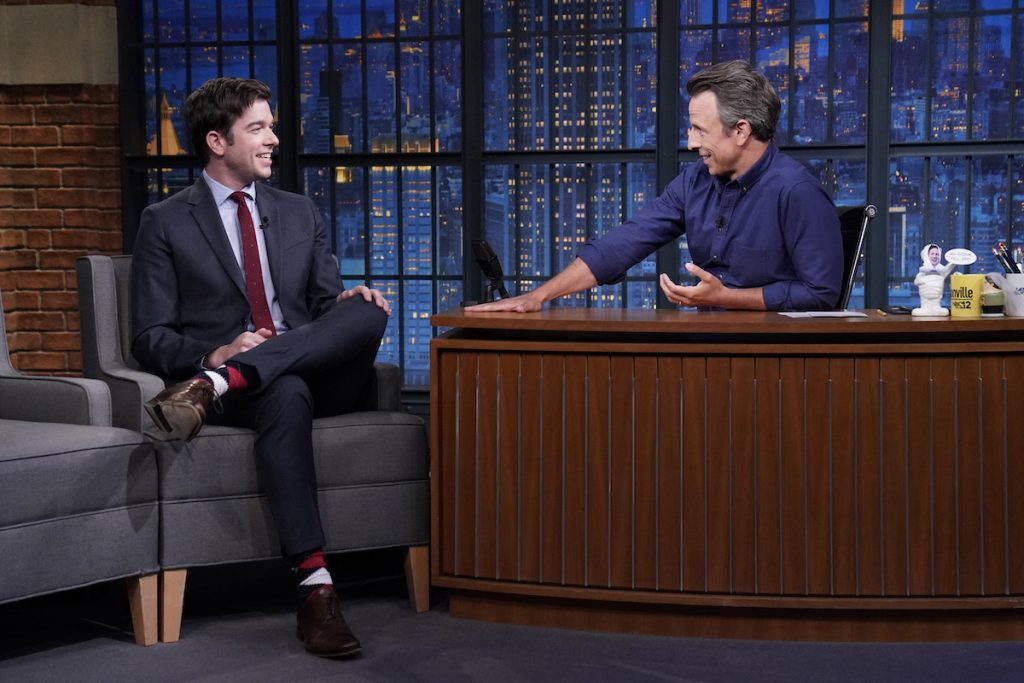 """John Mulaney is interviewed by Seth Meyers on """"Late Night with Seth Meyers"""""""