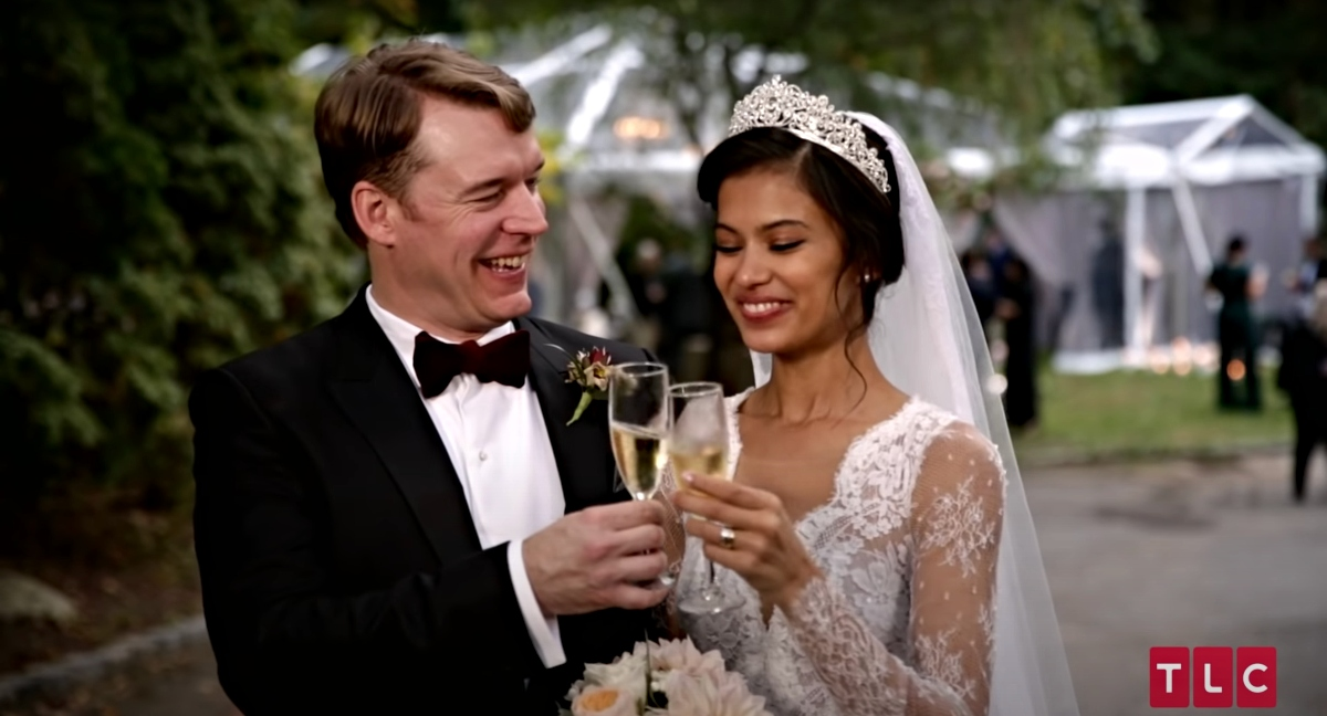 Juliana Custodio and Michael Jessen in '90 Day Fiancé 'season 7 get married and toast with champagne