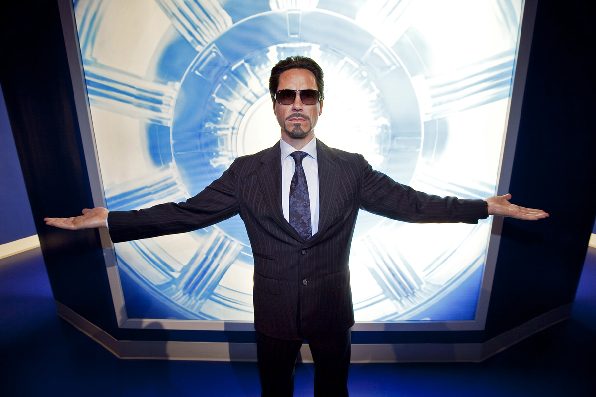 """Wax figure of Robert Downey Jr. as Dr. Tony Stark from """"Iron Man. Madame Tussaud's Hollywood wax museum"""