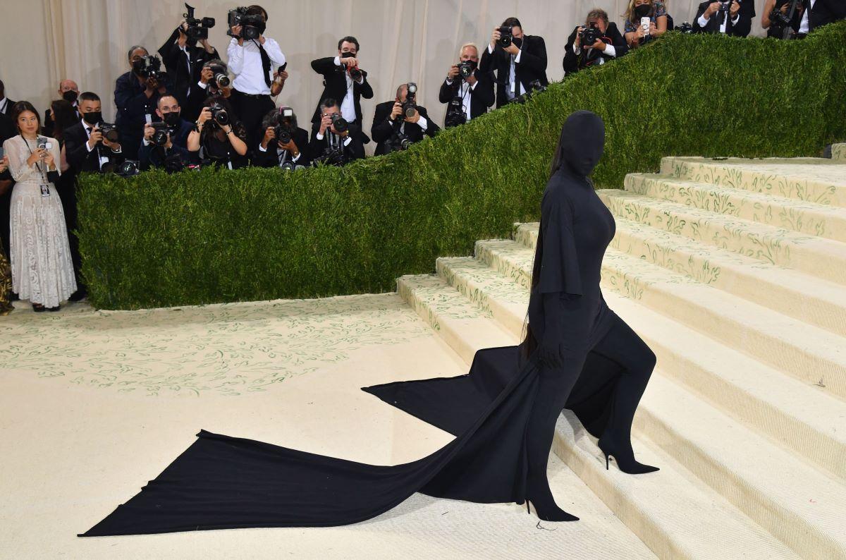 Kim Kardashian posing at Met Gala