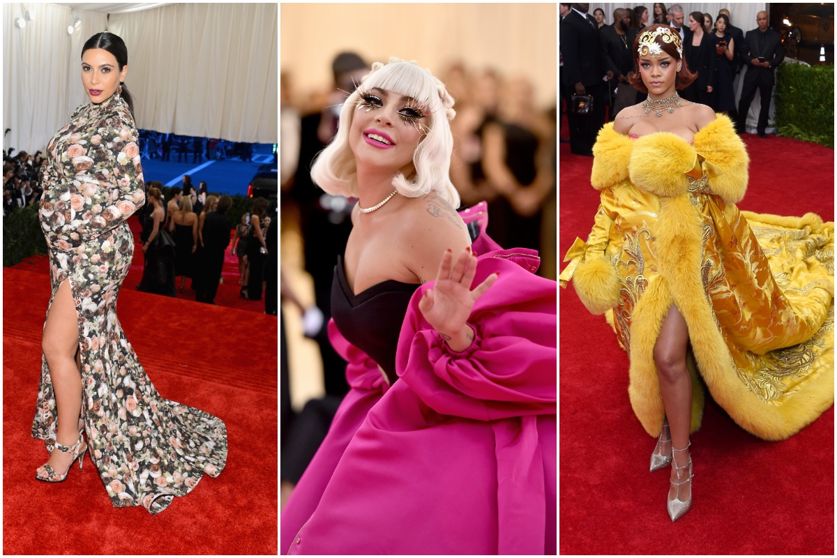 Kim Kardashian West, Lady Gaga, and Rihanna attending The Met Gala throughout the years in couture gowns.
