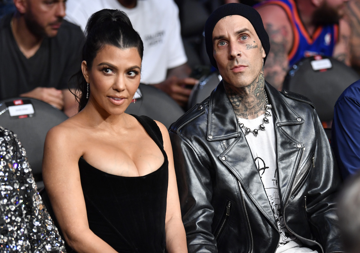 Kourtney Kardashian and Travis Barker in their women's bantamweight bout during UFC 264 at T-Mobile Arena on July 10, 2021 in Las Vegas, Nevada.