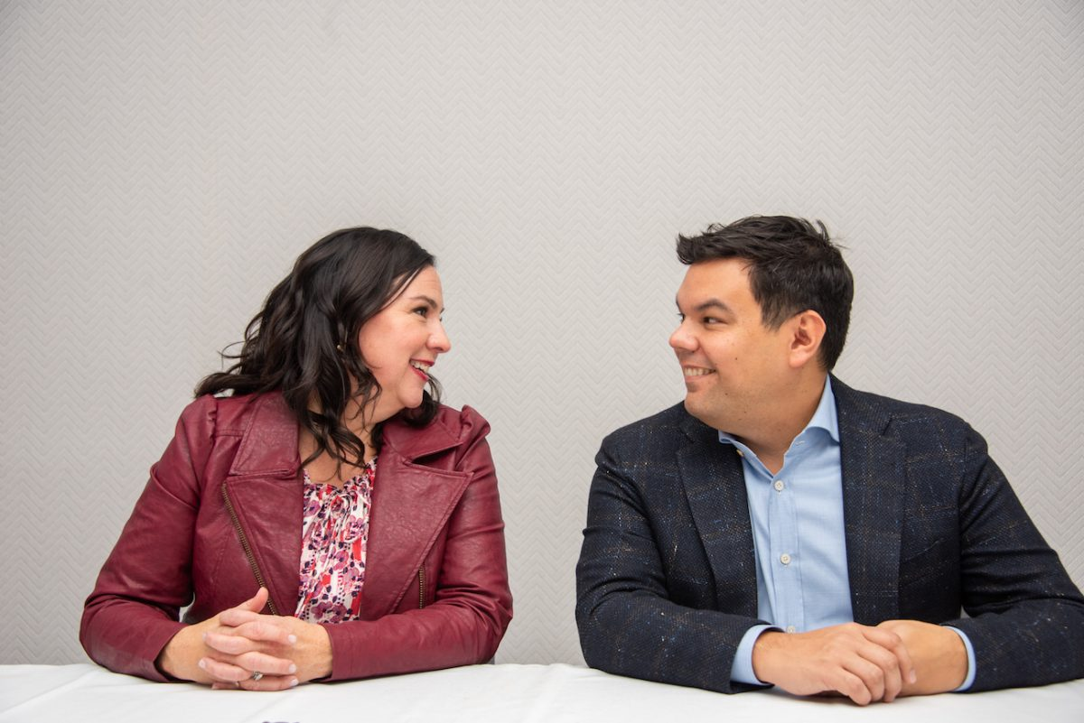 Kristen Anderson-Lopez and Robert Lopez at a press conference.